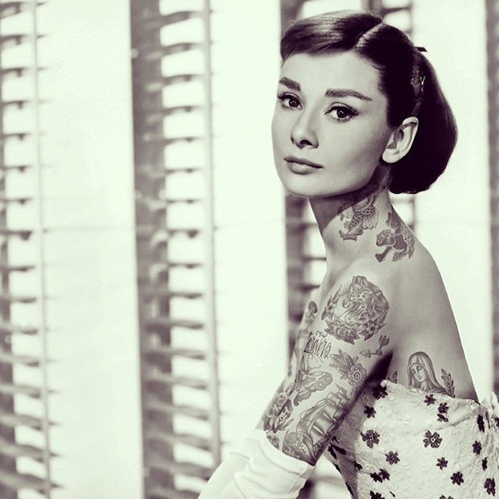 Some inspiration for your Audrey Hepburn tattoos: tattooed Audrey by Cheyenne Randall.