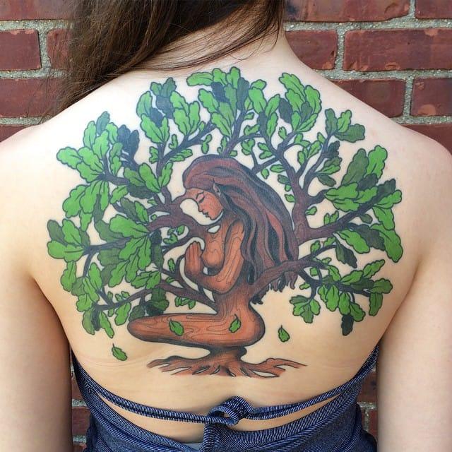 Inspiring back tattoo by Liana Joy.