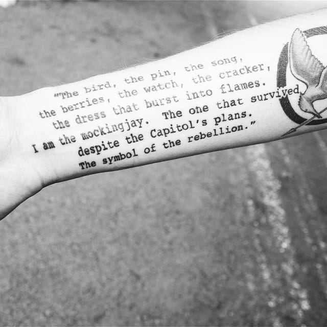 Could you credit his Hunger Games tattoo? quote tattoos #quote #quotetattoo #poem #lettering