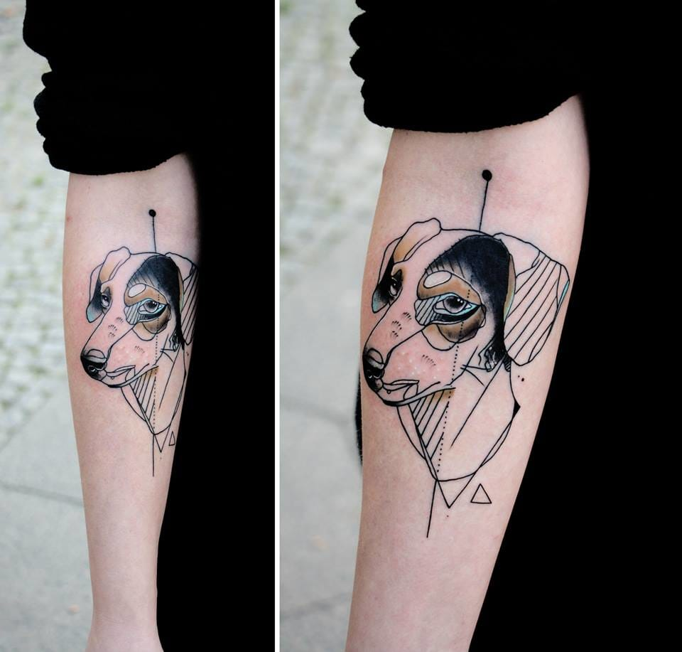 Going back to classics: sketch tattoos. Here cute puppy by Kamil Mokot.