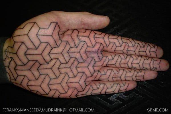 """That's gotta hurt like a real bitch."" Insane stick and poke tattoo #stickandpoke #handpoked #geometry"