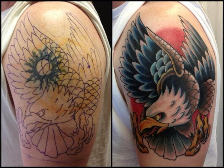 Cover-up Eagle Tattoo by Requiem Body Art