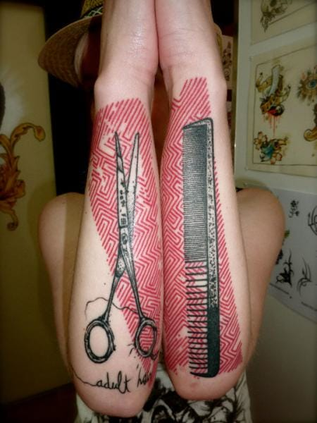 Comb and Scissor Tattoo by Xoïl