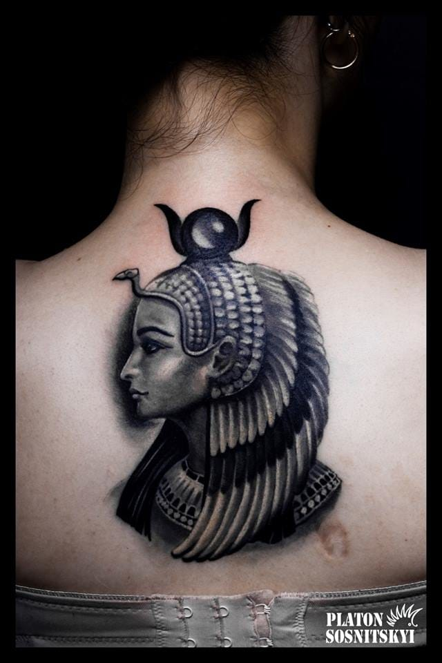 Cleoptra wearing the goddess Isis's headpiece by Platon Sosnytskyi.