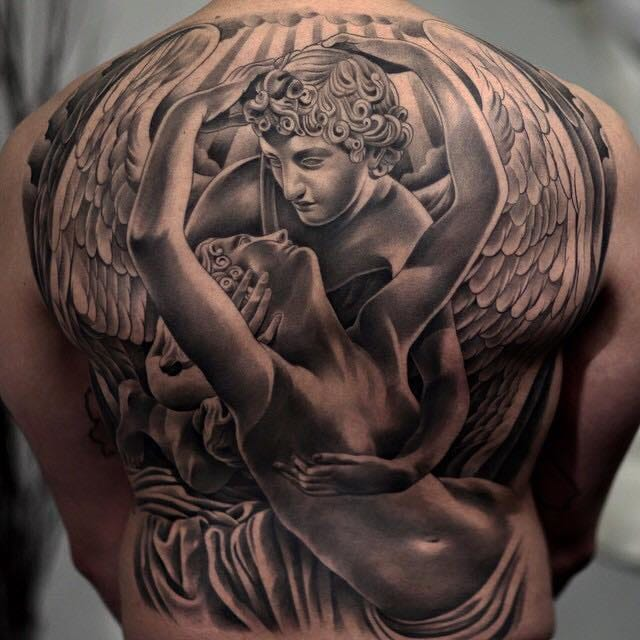 Famous statue Psyche Revived by Cupid's Kiss by statue tattoos master Jun Cha!