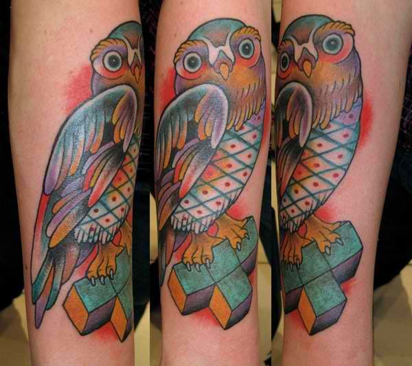 Tetris inspired owl tattoo