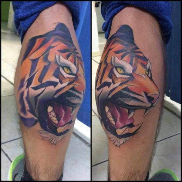 tiger inspired calf tattoo