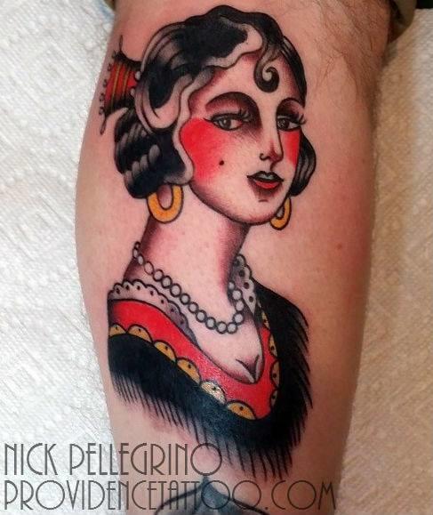 Gypsy Old School Tattoo by Nick Pellegrino Providence Tattoo studio
