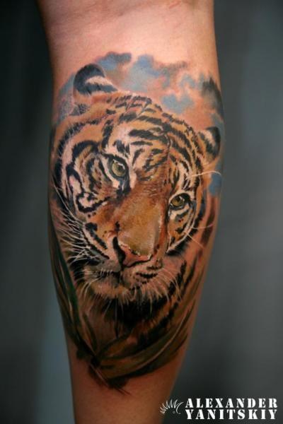 Realistic Tiger Tattoo by Alexander Yanitsky