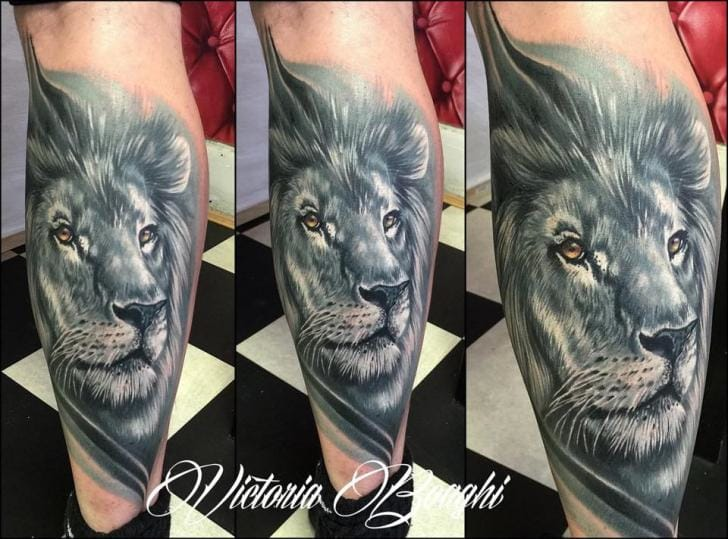 Realistic Lion Tattoo by Victoria Boaghi