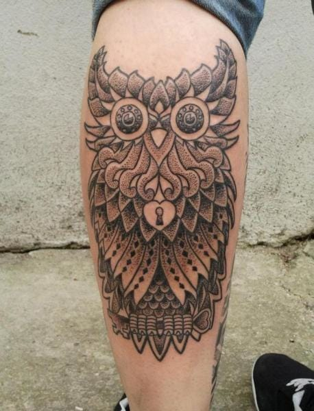 Dotwork Owl Tattoo by Vienna Electric Tattoo