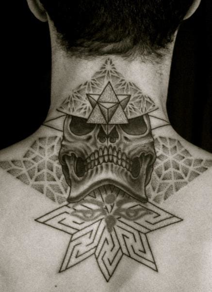 Geometric Dotwork Skull Tattoo by Tamara Lee Dot