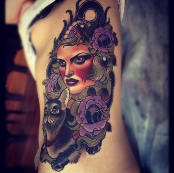 Neo traditional woman tattoo