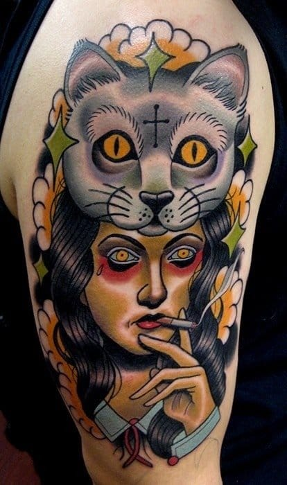 An awesome take on the 'crazy cat lady', artist unknown!