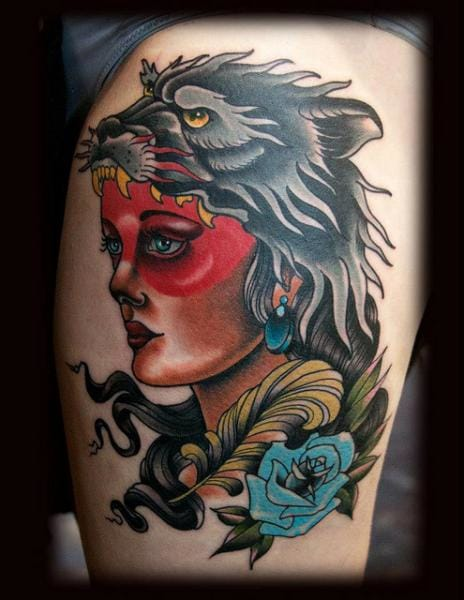 Incredible Wolf Cowl Tattoo by Black 13 Tattoo