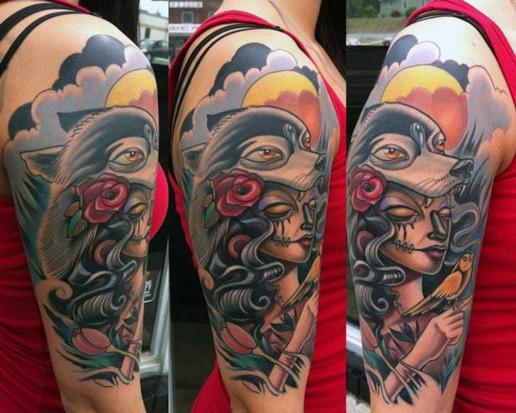Neo traditional woman and wolf tattoo