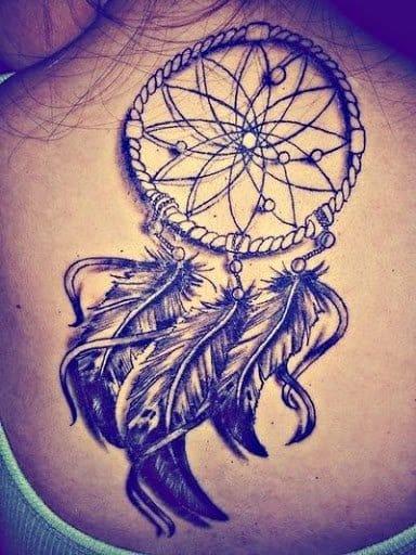 Back tattoo, artist unknown #dreamcatcher