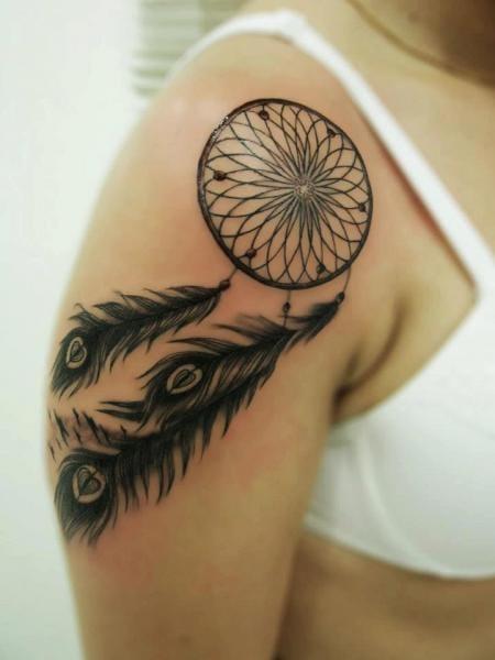 Dreamcatcher Tattoo by Blood for Blood Tattoo #dreamcatcher