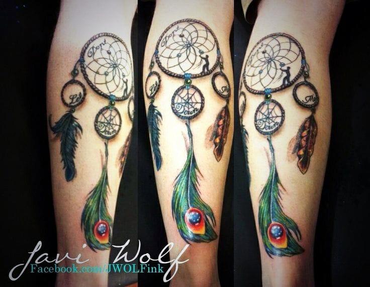 Javi Wolf created this leg tattoo #dreamcatcher #javiwolf
