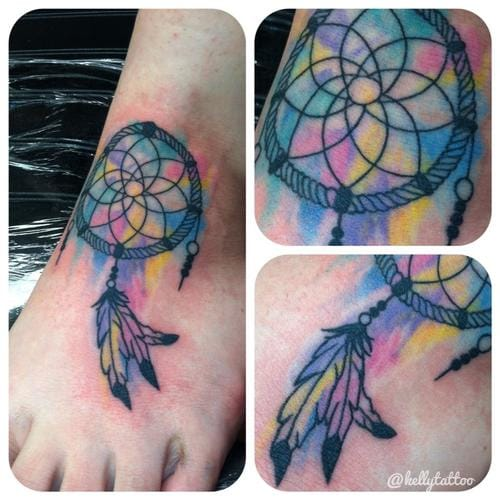 Bright foot piece by Kelly Tattoo #dreamcatcher