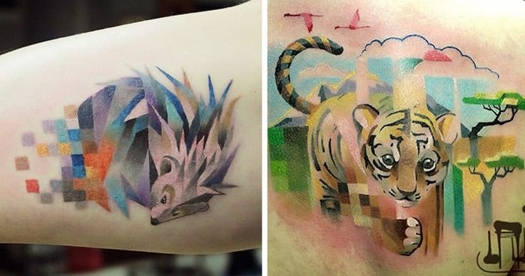 10 Cool & Trippy Pixel Tattoos