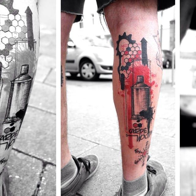 Trash style Carpe Noctem leg piece by Vanderrfuss.