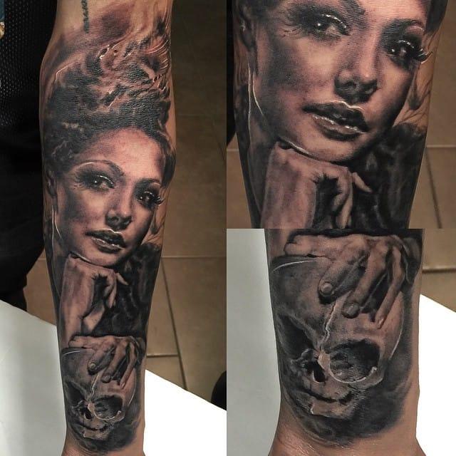 Linda tatuagem realista de Cleo Wattenstrom