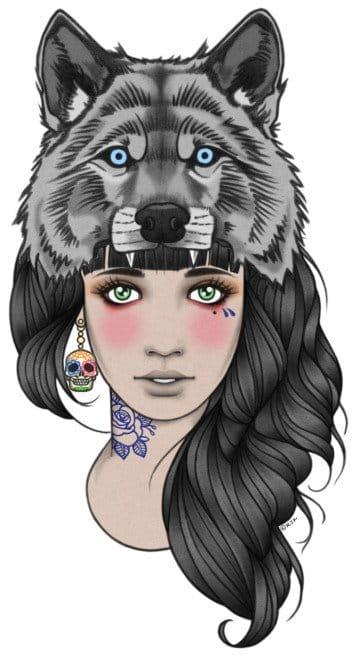 Tattooed woman drawing