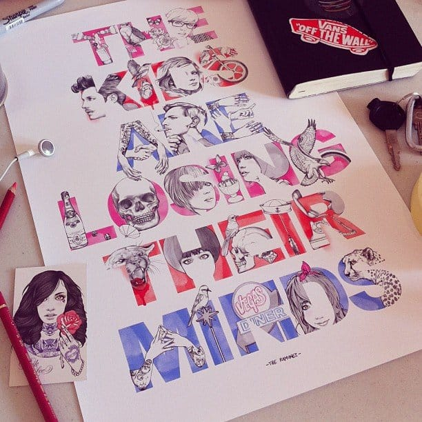 Creative lettering drawing