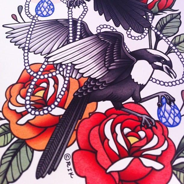 Bird tattoo design with roses