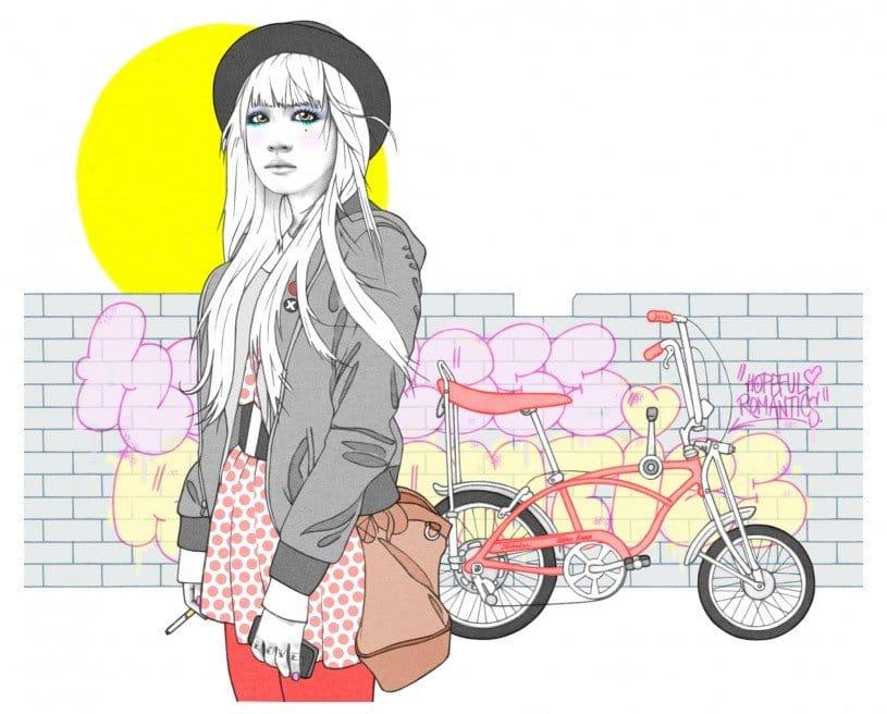 City girl drawing