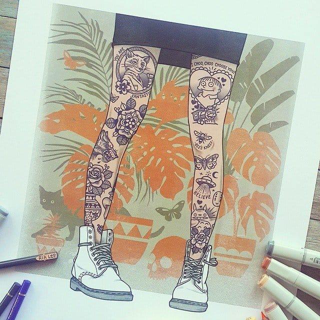 Tattooed legs drawing