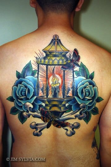 Old school back tattoo by Jim Sylvia