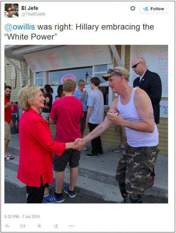 Hillary Clinton's Handshaking Incident With A Man With A White Tattoo