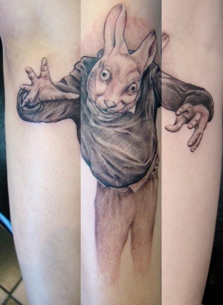 Strange rabbit tattoo