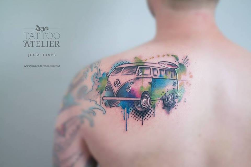 10 cool volkswagen kombi tattoos for your inner hippie tattoodo. Black Bedroom Furniture Sets. Home Design Ideas