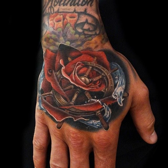 Amazing rose and ships wheel by Andres Palmiter