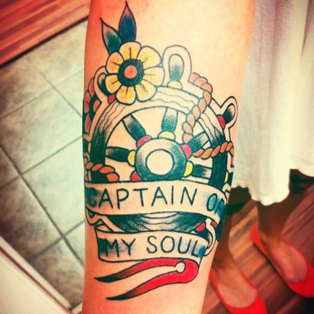 18 Guiding Ships Wheel Tattoos | Tattoodo
