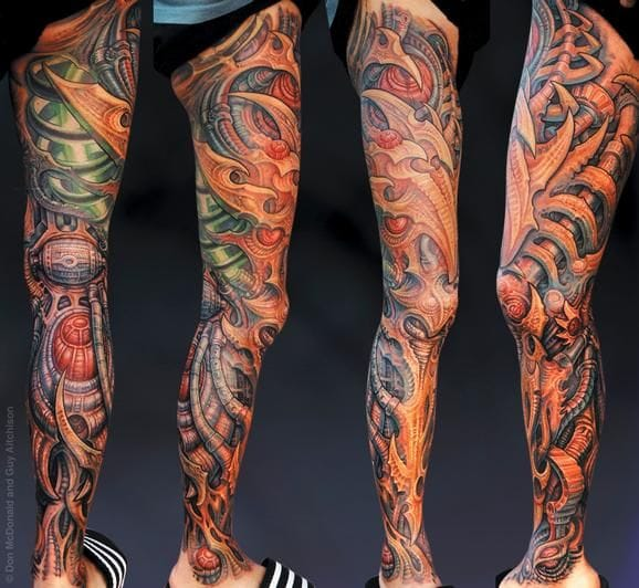 Collaboration leg sleeve by DonMcDonald and Guy Aitchison.