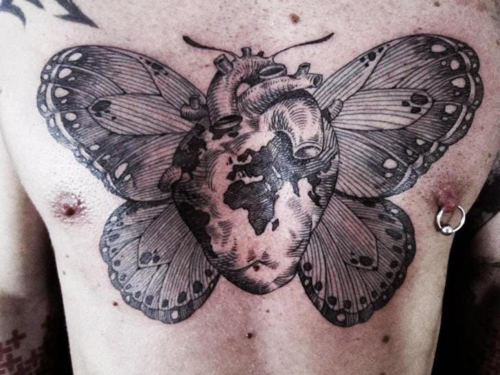 Heart Butterfly Dotwork Tattoo by Ottorino d'Ambra