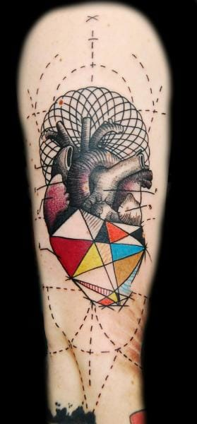 Geometric Heart Tattoo by Ink-Ognito