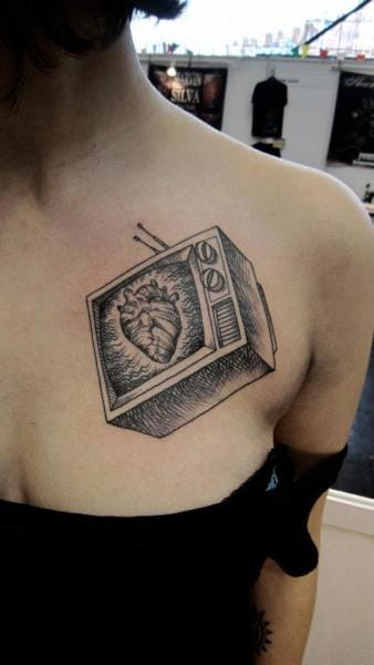 Heart Television Tattoo by Ottorino d'Ambra