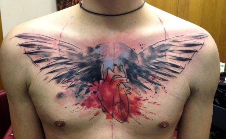 Heart Wings Tattoo by Tribo Tattoo