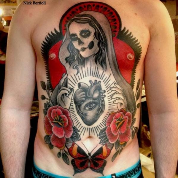 Day of the dead tattoo combined with one eye