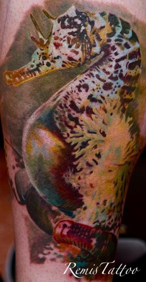 Sea horse tattoo