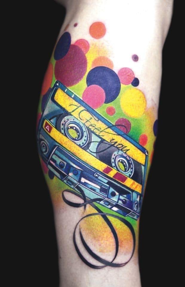 Abstract cassette tattoo
