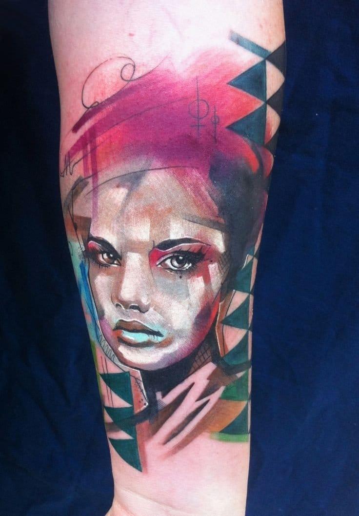 Abstract portrait tattoo