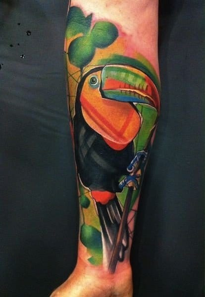 Abstract parrot tattoo
