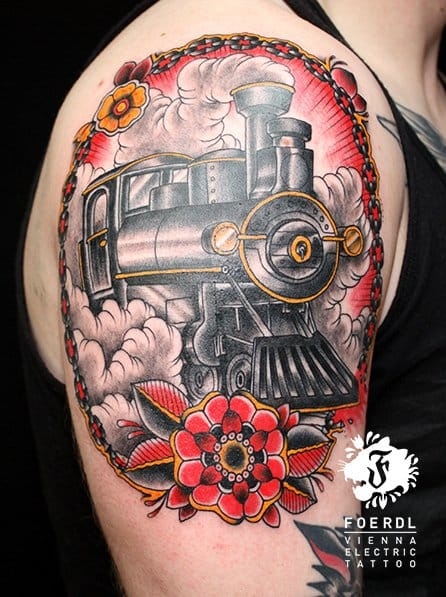 New School Train Tattoo by Vienna Electric Tattoo