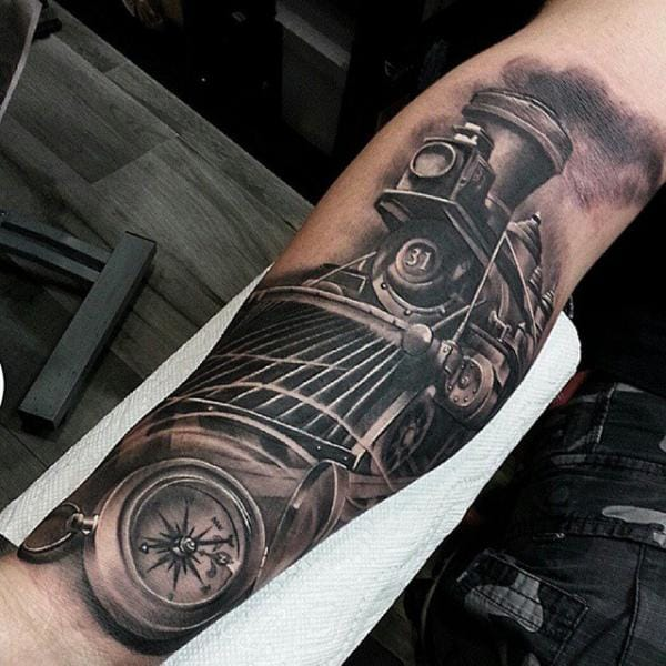 Fantastic Train Tattoo by Inkaholik Tattoos
